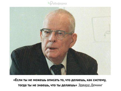 «Если ты не можешь описать то, что делаешь, как систему, тогда ты не знаешь, что ты делаешь» Эдвард Деминг